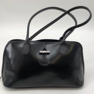 NWD Longchamp Black Leather Purse Tote